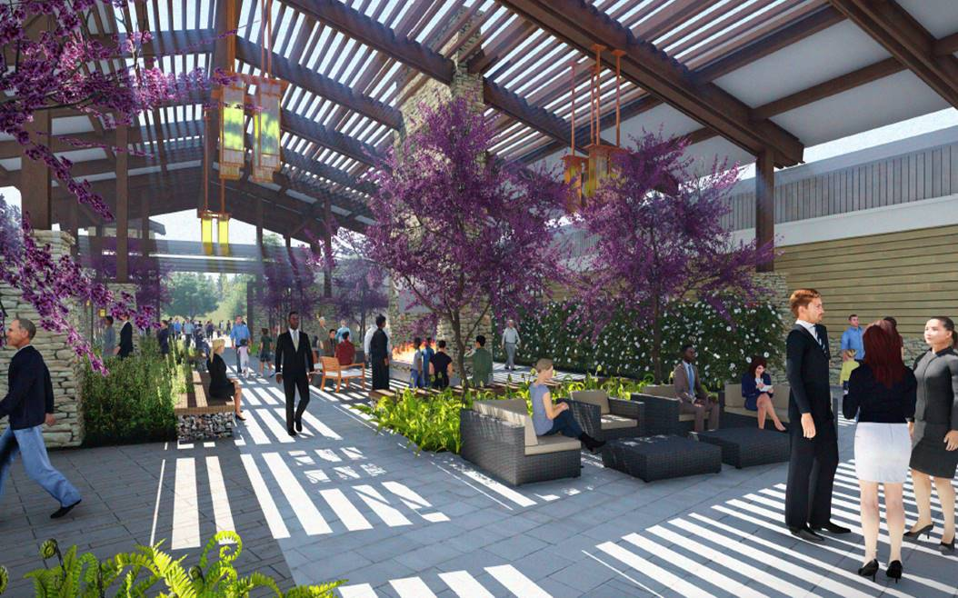 Civic Center Rendering Community Center Interior Courtyard