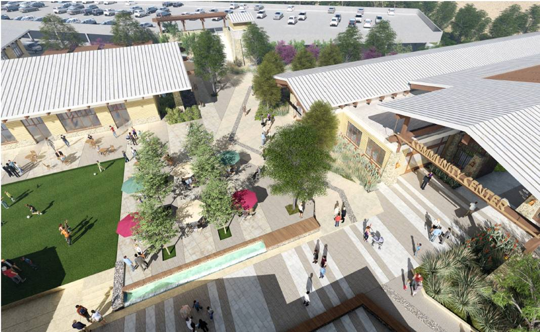 Civic Center Rendering Plaza Courtyard, Parking Deck Entrance