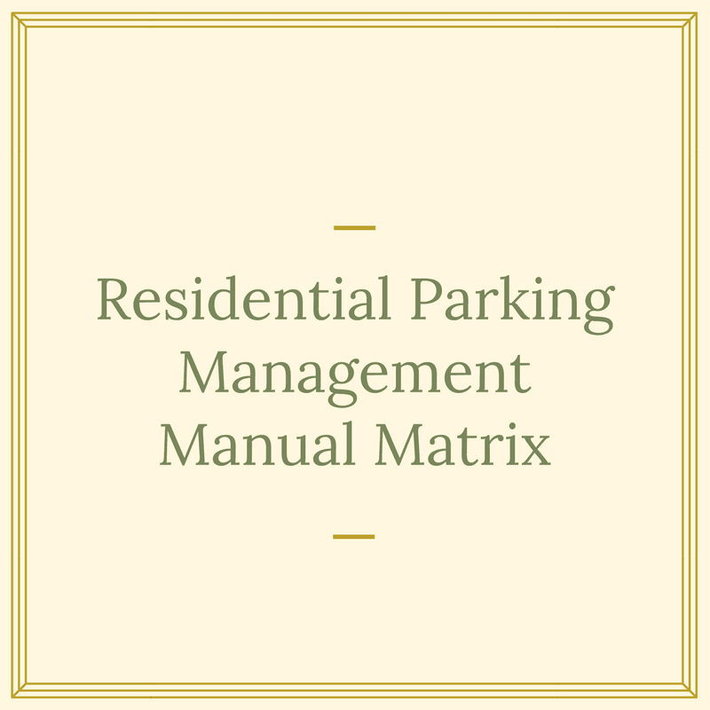 Residential Parking Management Manual Matrix