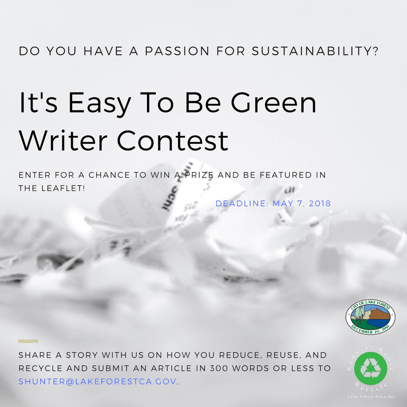 Reduce, Reuse, Recycle Tips Contest