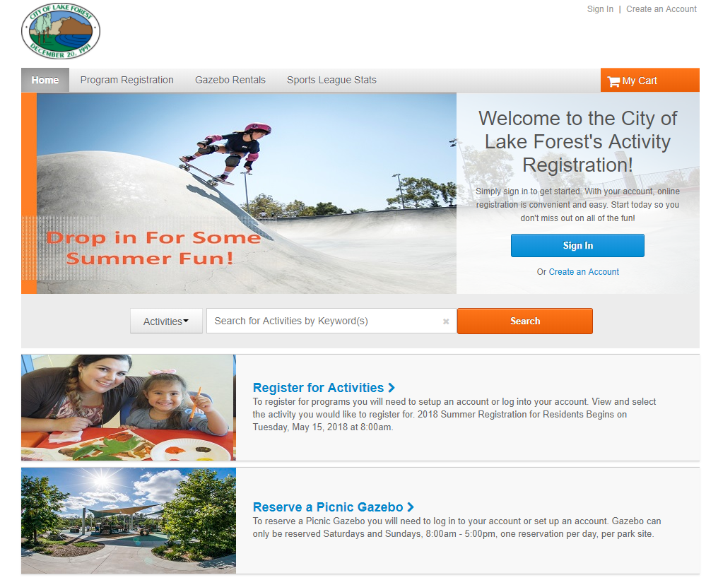 New Recreation Registration Website