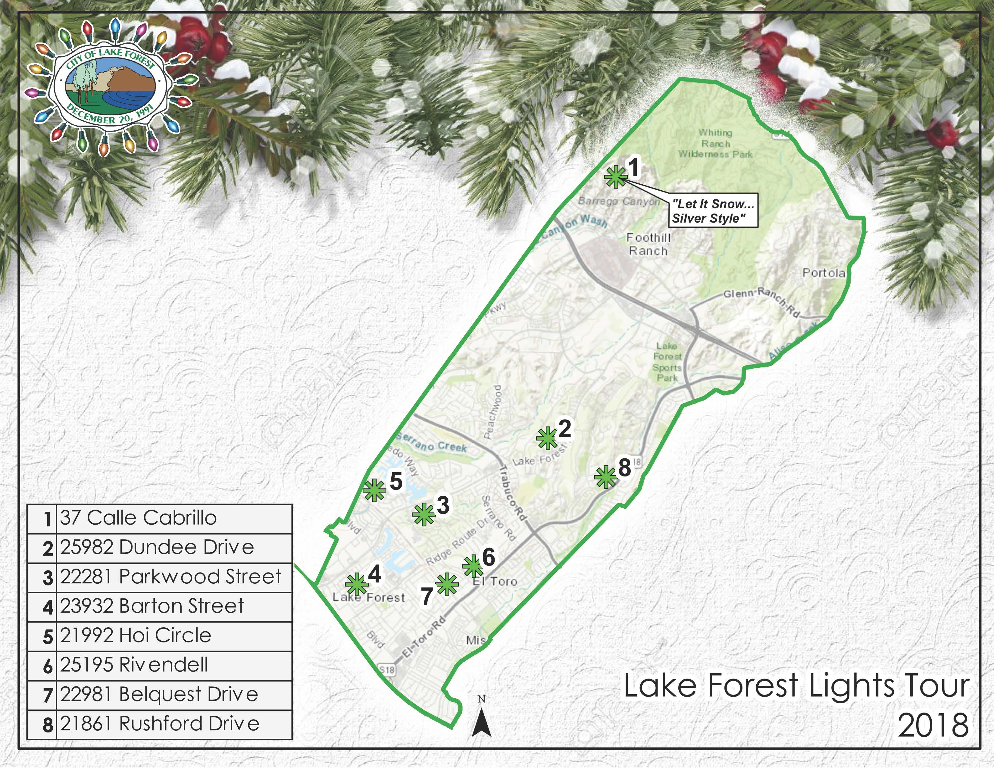 Lake Forest Lights Tour Map 2018