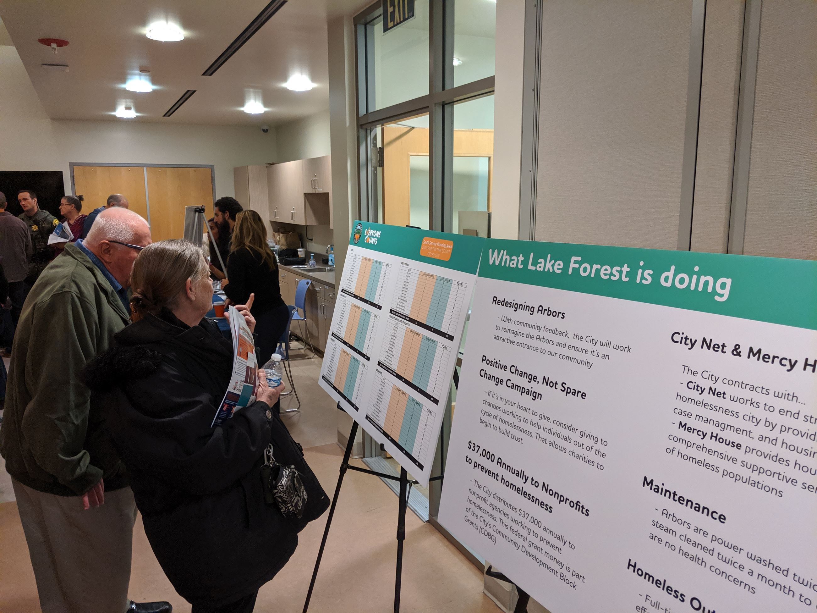 A couple reviews display boards at the Lake Forest Listens event.