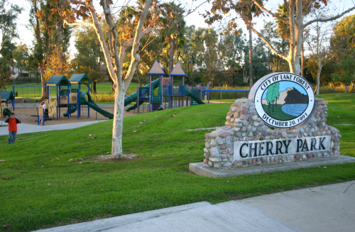 A stone sign at the entrance of Cherry Park